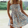 Aproms Boho Leopard Print Summer Dress Women Casual Sleeveless High Waist A Line Casual Short Mini Dress Ruffle Sundresses 2020