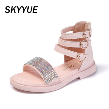 Summer Kids Princess Sandals Baby Girls Gladiator Sandals Children Brand Shoes Black Beach Sandals Pu Leather Sandals 2020 New фото