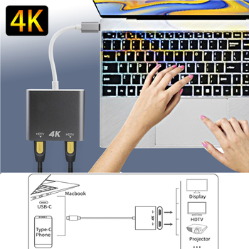 Type C HDMI Adapter 4K USB to Dual 3.0 PD Charging Port USB-C Converter Cable for MacBook Samsung Dex Galaxy S10/S9