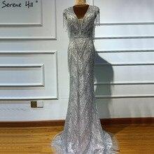 Adorno con cuentas de plata para mujer, Vestidos de Noche de lujo con borlas y cuello en V, diseño novedoso sin mangas de sirena, Hill BLA60830 Serene, 2020
