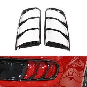 DWCX 2 шт. углеродное волокно текстура заднего бампера для автомобиля внешний задний фонарь Крышка лампы отделка Подходит для Ford Mustang 2018 2019