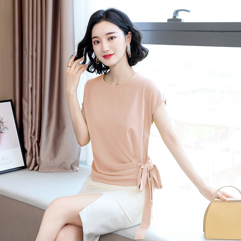 2021 Blusas Mujer De Moda Summer Silk Short-Sleeved Women's Blouse And Tops Office Lady Plus Size Solid Bow Shirts Women 9899 3