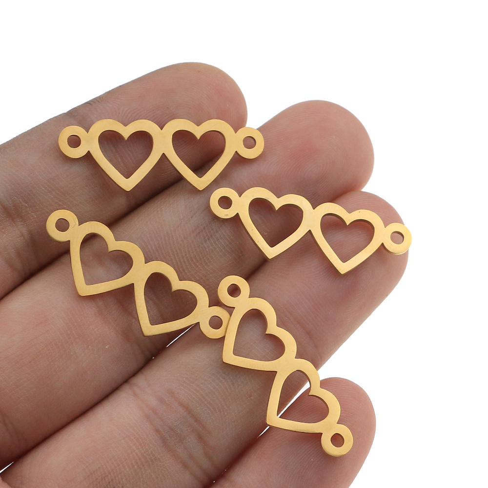 5pcs/lot Gold Stainless Steel Double Heart Charm Connector For Bracelet Necklace Hollow Pendants Diy Jewelry Making Supplies