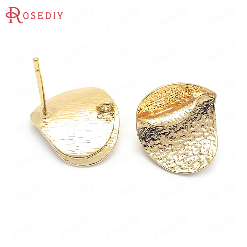 (37809)6PCS 15x15MM 24K Gold Color Brass Curle Edge Oval Shape Stud Earrings Pins Jewelry Making Supplies Diy Accessories