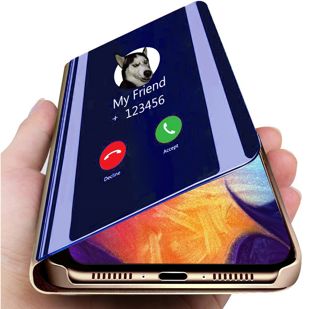 For <font><b>Samsung</b></font> Galaxy S10 S9 S8 Plus Note 10 8 9 Plus S7 S6 A3 A5 A7 2017 J6 A9 2018 <font><b>A30</b></font> A40 A50 A70 Smart Mirror <font><b>Flip</b></font> Phone <font><b>Case</b></font> image