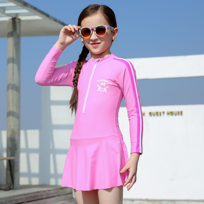 CHILDREN'S Swimsuit Tour Bathing Suit Children Long Sleeve One-piece Sun-resistant Warm Quick-Dry Bathing Suit BOY'S Girls Swims