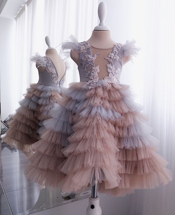 Pretty Mix Color Tiered Tutu Kids Communion Bress Flower Girls Dresses Ruffles Pageant Dresses For Girls Robe fille fleur