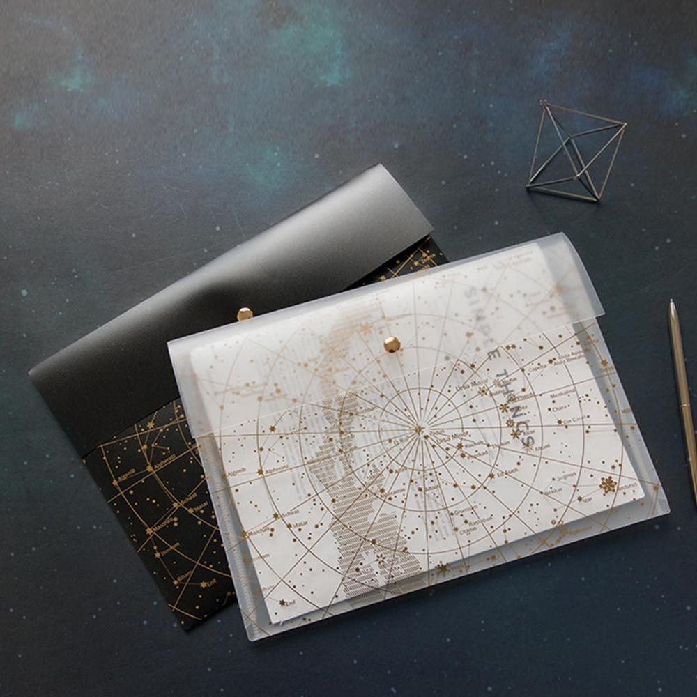 A4 Laser Transparent File Folder Document Bag Fantasy Star Storage Bag Kawaii Pocket PP File Bag School Stationery Supplies