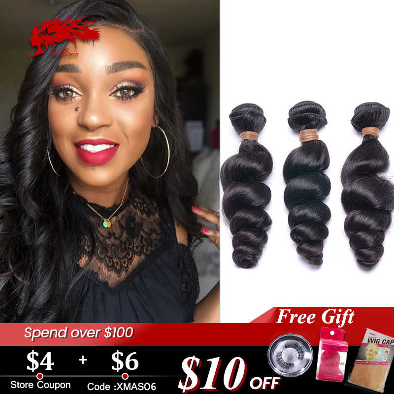 "Peruvian Loose Wave Human Hair Bundles 1pc/ 3pc/4pc Lot Natural Color 12""-26"" ALi Queen Hair Virgin Remy Hair Extensions"