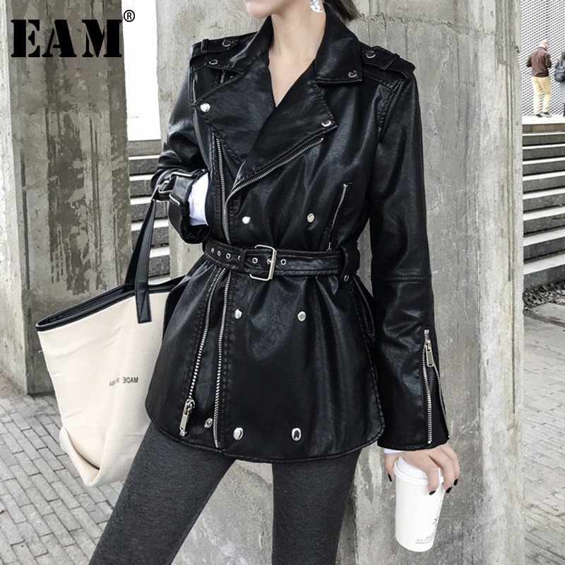 [EAM] Loose Fit Black Pu Leather Bandage Split ZipperJacket New Lapel Long Sleeve Women Coat Fashion Tide Spring 2020 1S708 1