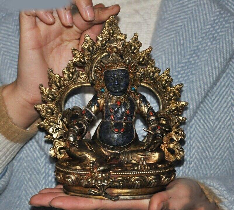 Свадебное Украшение 7 филигранная 24k Золотая позолоченная инкрустация лазурит кораллово желтая статуя Будды джамбала