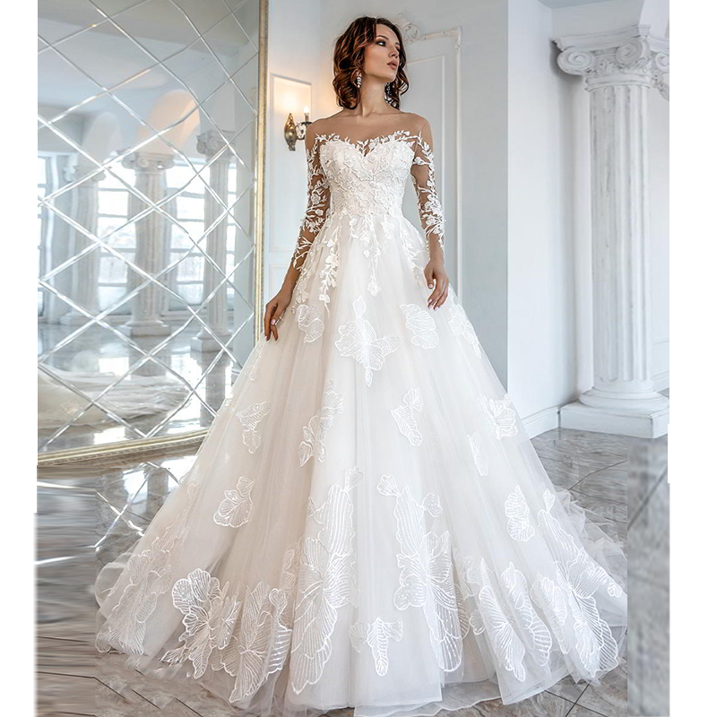 Verngo Ball Gown Wedding Dress Lace Appliques Wedding Gowns Long Sleeve Bride Dress Elegant Wedding Dress Boho Trouwjurk 2019-in Wedding Dresses from Weddings & Events