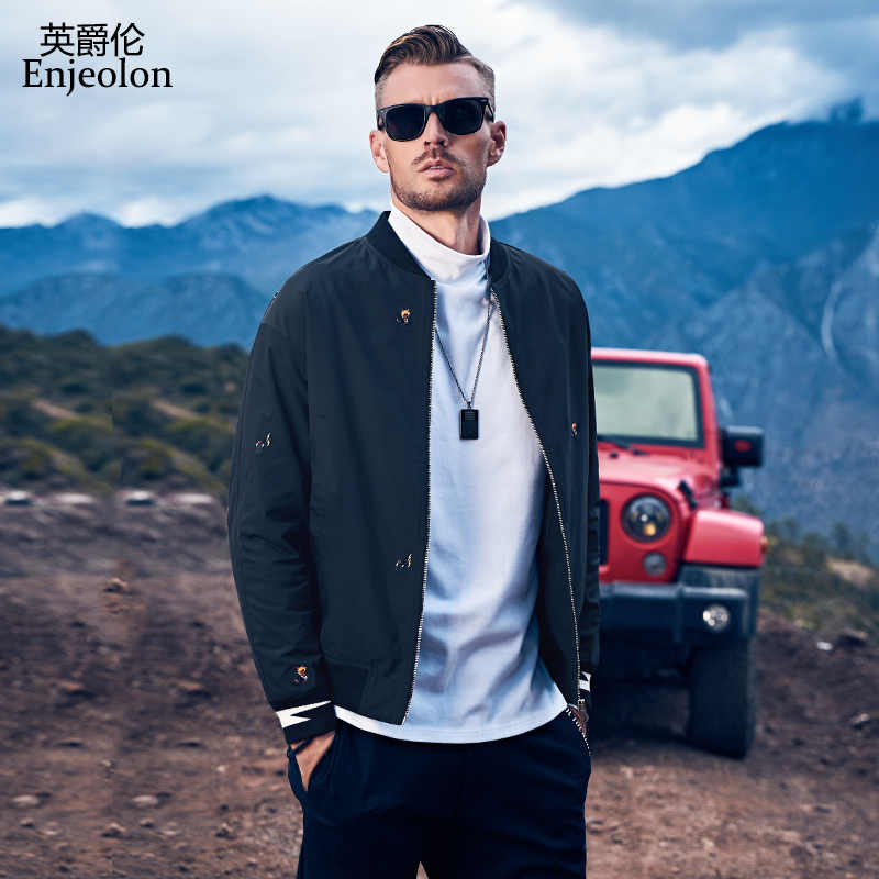 Enjeolon 2019 Jas Mannen Casual Baseball Jacket Herfst Winter Mode Slim Fit Mannen Jassen Merk Casual Jas Top Kwaliteit JK0366