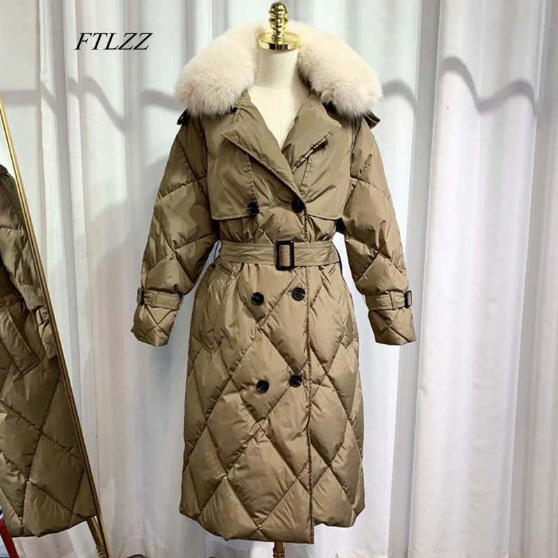 FTLZZ New Winter Large Natural Fur Long Jacket 90% White Duck Down Parka Women Warm Snow Double Breasted Sash Tie Up Down Coats