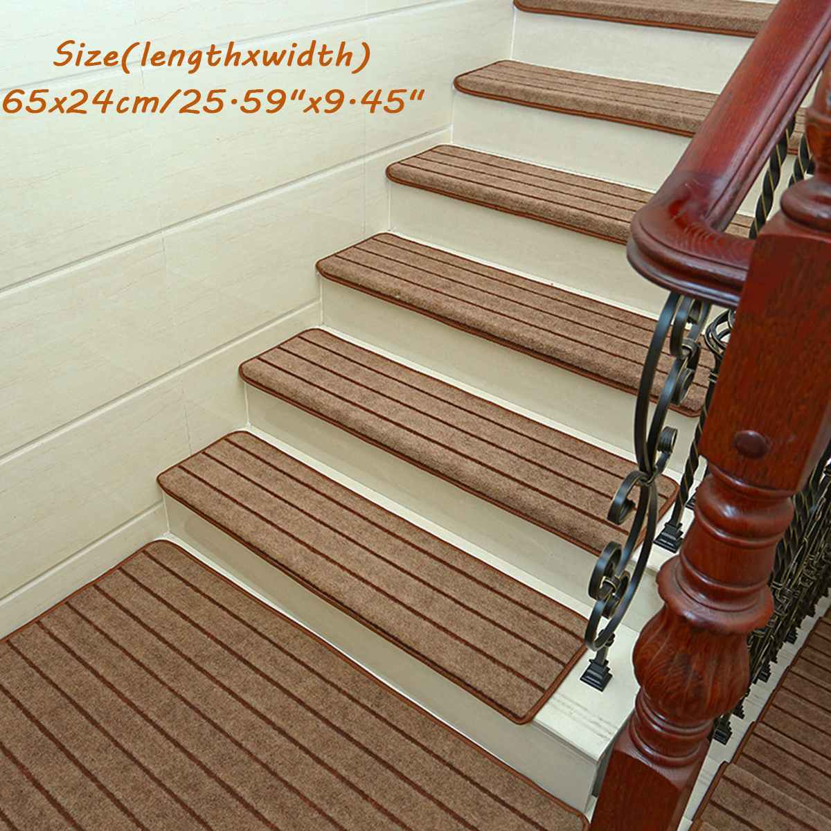 14Pcs Adhesive Stair Treads Rectangle Non-slip Rugs Stair Mats Pads Carpet In 3 Colors Repeatedly-use Safety Pads Mat For Home