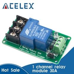 Один 1 канальный релейный модуль 30A С оптопары изоляции 5 в 12 В 24 В поддерживает высокий и низкий триггер
