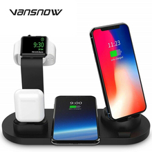 3 in 1 wireless charging stand for apple watch 4 3 airpods charging dock station qi 10w fast charger for iphone 11 x xs max xr 8 New 4 In 1 Wireless Charging Dock Station for Apple charger Watch Airpods  IPhone X 11 Pro 8 10W Qi Fast Chargers Stand Holder