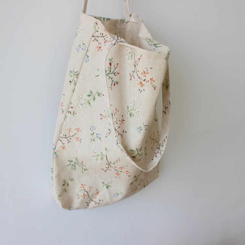 Kobiety wielokrotnego użytku torba na zakupy Eco torebka torba na plażę duża pojemność Casual bawełna lniana płócienna torba na ramię kwiat wydruku duże torba z rączkami