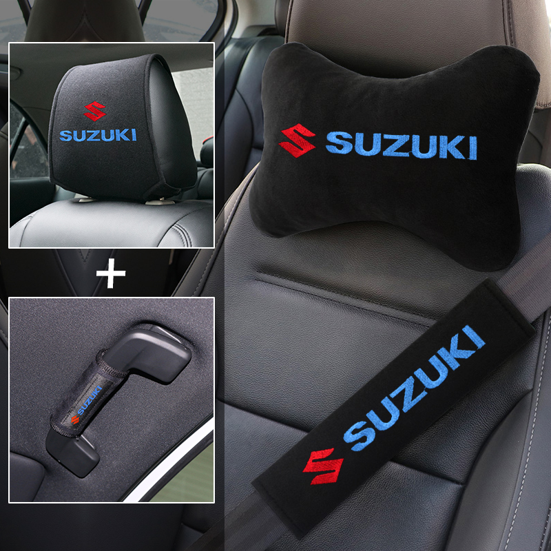 Car safety belt shoulder protector head pillow pull glove series set for Suzuki grand vitara suzuki sx4 swift Alto Accessories