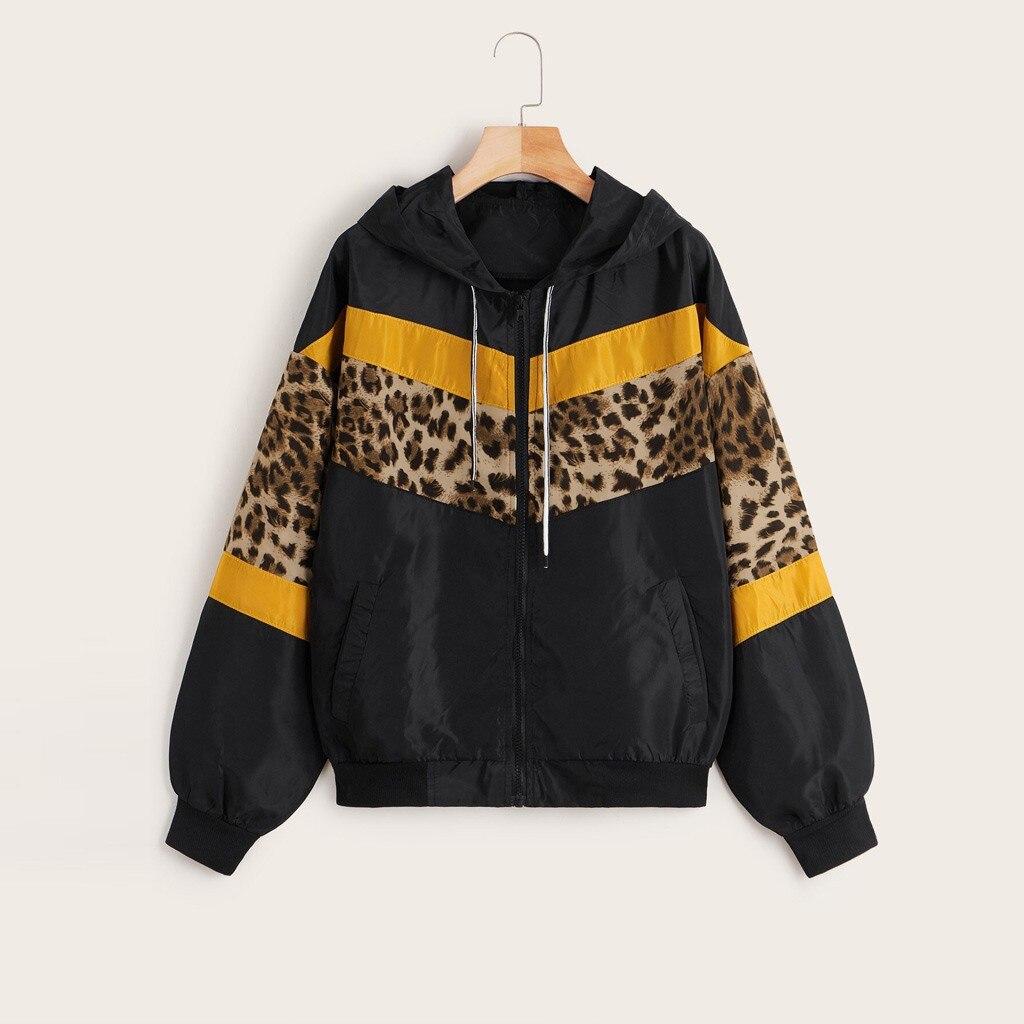 CHAMSGEND куртка леопардовая модная верхняя одежда тонкие кожаные костюмы на молнии с длинным рукавом Куртка с капюшоном пальто Casaco Feminino Manteau