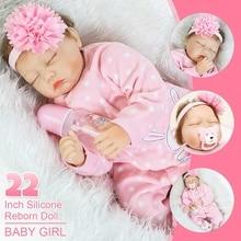 22 zoll Mädchen Spielzeug Weiche Silikon Reborn Puppen Baby Überraschungen Geschenke Baby Realistische Puppe Reborn Vinyl Boneca Reborn Puppe Für mädchen