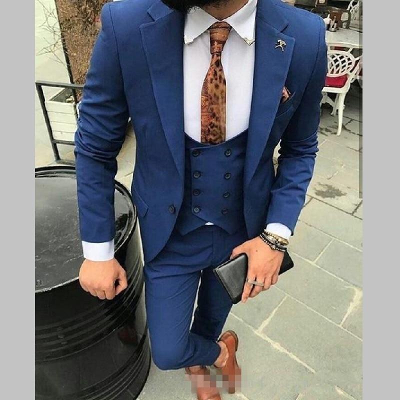 07 One Button Royal Blue Groomsmen Peak Lapel Groom Tuxedos Men Suits WeddingPromDinner Best Man Blazer(Jacket+Pants+Tie+Vest)