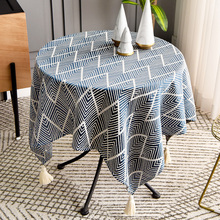 Nordic small round table table tablecloth round table cloth simple household square cotton and linen green square tablecloth