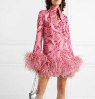 Brand Dress Women 2019 Autumn/winter Fashion Lapel Printed Ostrich Fur Poncho Dress Party Dress Vestido De Festa