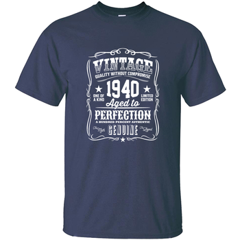 Vintage New Arrival 1940 Aged To Perfection White T Shirt For Mens Outfit White Comical Men T-Shirts Camisas Shirt Print