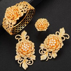Image 2 - missvikki Nigerian Wedding Naija Bride Charm Rose Flower Leaf Luxury Women Cubic Zirconia Necklace Dubai 4PCS Dress Jewelry Set