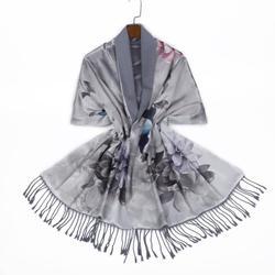 Silk digital printed  double-sided brushed shawl