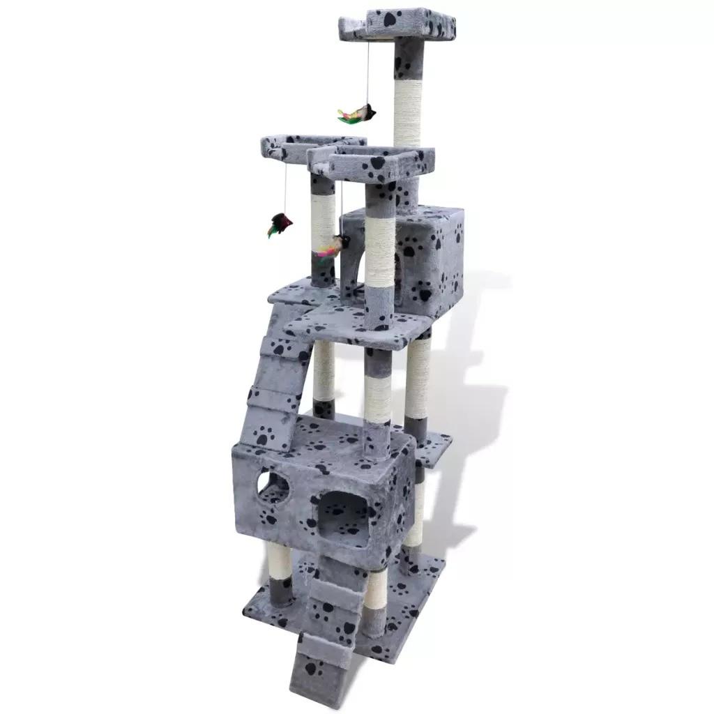 Vidaxl arbre à chat chat griffoir 170 Cm 2 Condos gris avec pions mignon arbre à chat jouets pour animaux de compagnie maison pour animaux de compagnie - 2