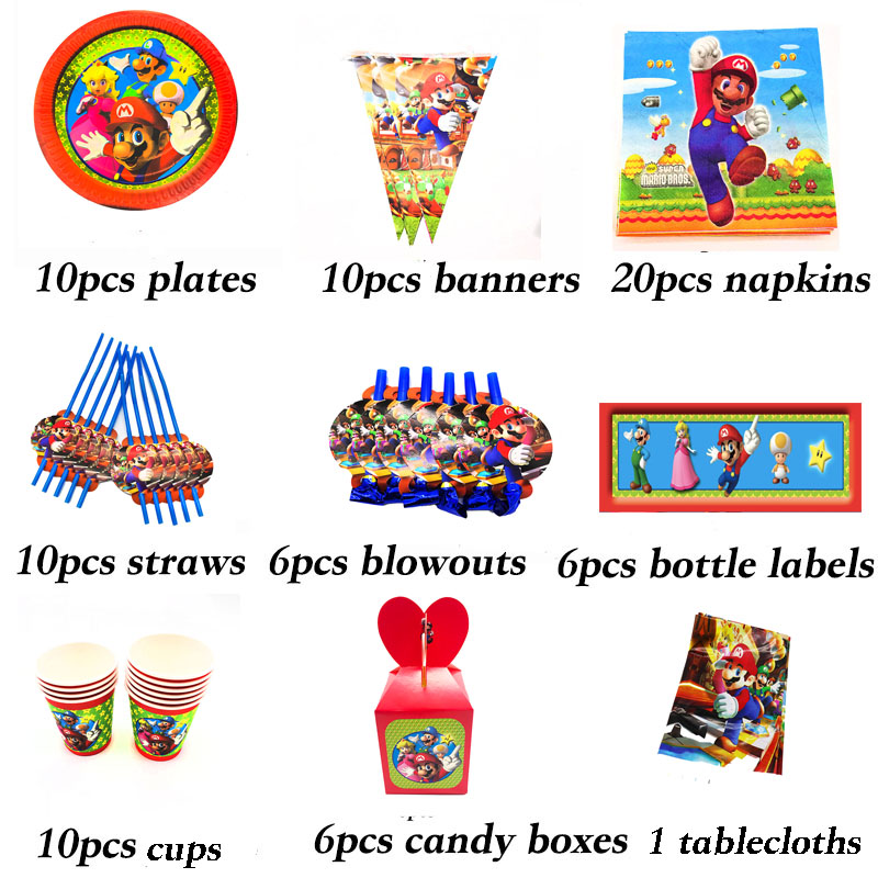 New Super Mario Theme party paper plate cup napkin banner tablecloth candy box card straw kids boy happy Birthday Party Decor
