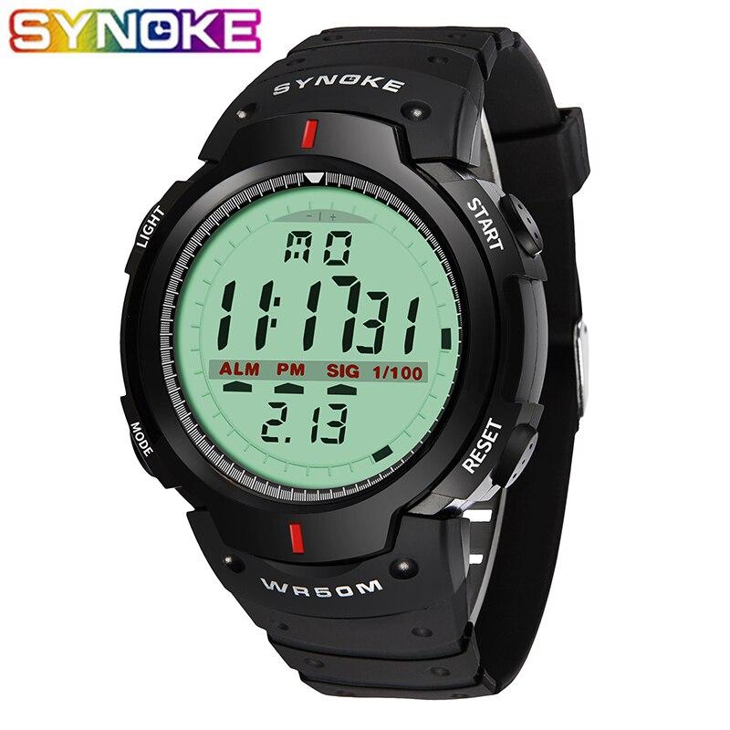 SYNOKE Military Wristwatch Sports Men LED Electronic Watch Fashion Digital Wrist Watches Mens Outdoor Life Waterproof Watch