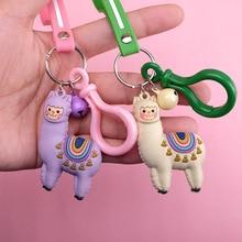 2019 New Mix Cute Key Chain little sheep resin lama Alpaca charms micro landscape creative accessories Keychain pendant DIY