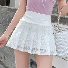 2021 Summer New Style Miniskirt Women High Waist Lace Black White Sweet and Cute Student Skirt Fashion Pleated Skirt