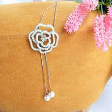 Fashion Pearl Beaded Rose Flower Tassel Long Necklace For Women Sweater Necklaces 2019 New Jewelry