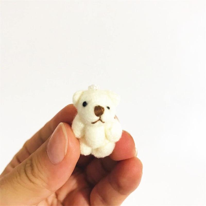 50db / tétel 3cm-es mackó medál rajzfilm csokor medve baba plüss ízületek Meztelen mackó baba mini medve baba