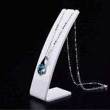 Branco acrílico colar jewellry expositor titular brinco pingente exposição prateleira 3 tamanhos vitrine de armazenamento de jóias