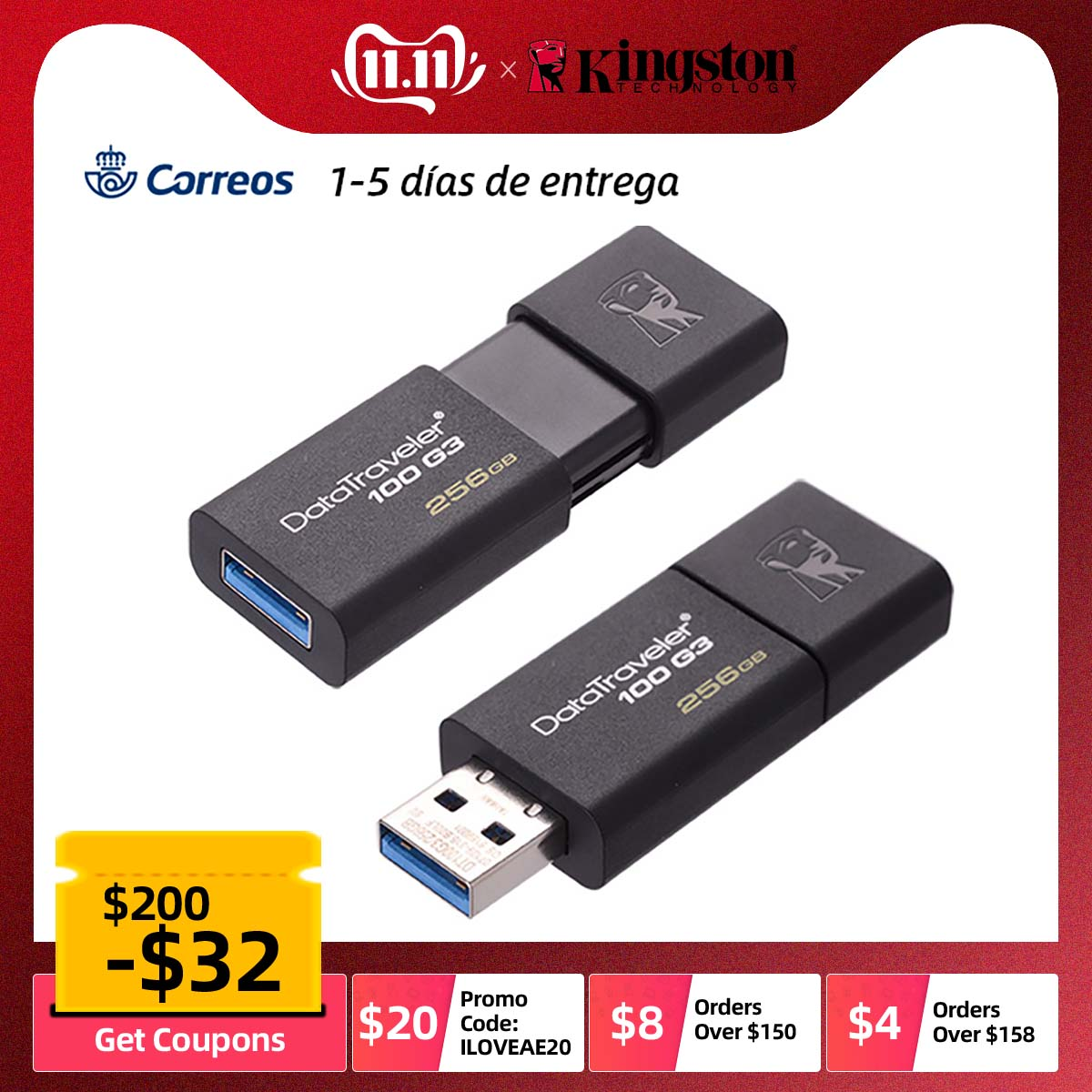 Clé USB haute vitesse USB 3.0 Kingston 32GB 64GB 128 GB 32 64 128 GB clé USB clé USB DT100G3