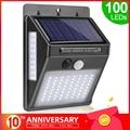 Уличная лампа  со 100 светодиодами на солнечных батареях  водонепроницаемая