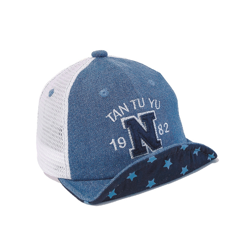 44 48cm 3m 2y children 39 s hat tide bear letter soft along the sunscreen cap photography props boys hats kids hat baby hats in Hats amp Caps from Mother amp Kids