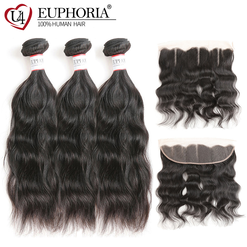 Brazilian Hair Bundles With Frontal Euphoria Natural Wave Human Hair Weaves And Closure Remy Bundle Hair