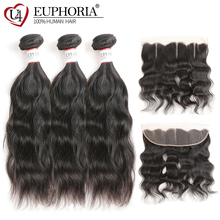 Brazilian Hair Bundles With Frontal Euphoria Natural Wave Human Hair Weaves And Closure Remy Bundle Hair Weaving With Frontal