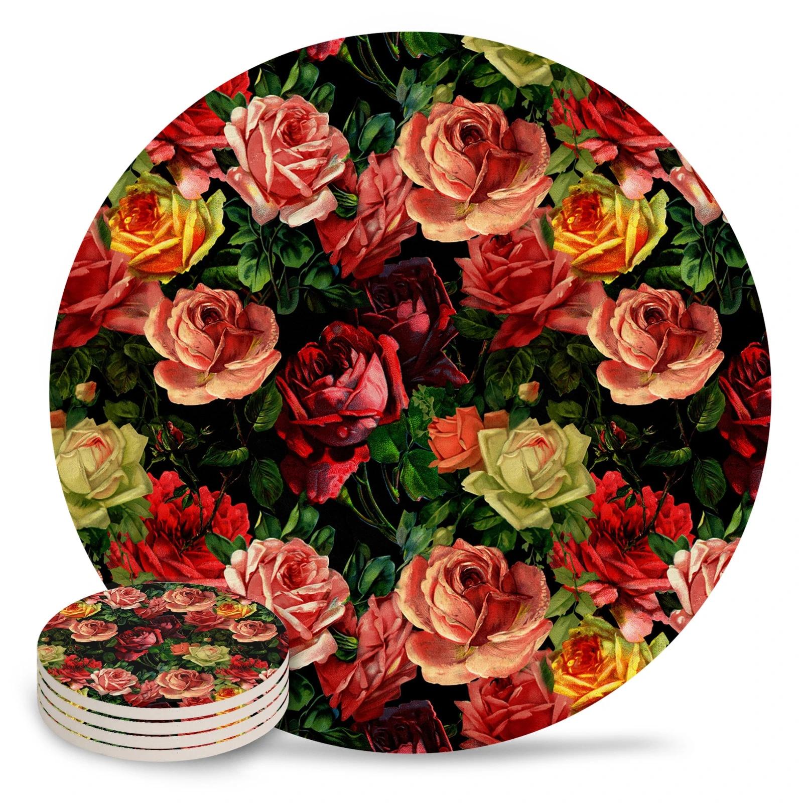 vintage florals Vintage Roses Floral coasters kitchen table decor Shabby Chic table decor set of 4 floral drink mats flowers print