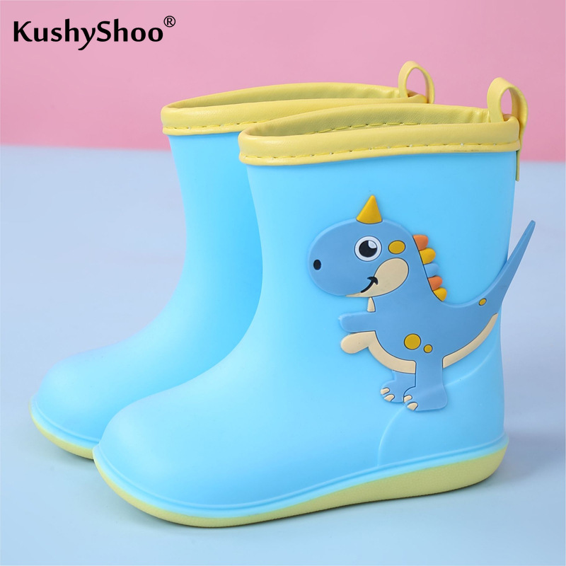 KushyShoo Baby's Rain Boots Lovely Dinosaur Children's Rain Shoes PVC Rubber Kids Baby Cartoon Water Shoes Toddler Girl Boots