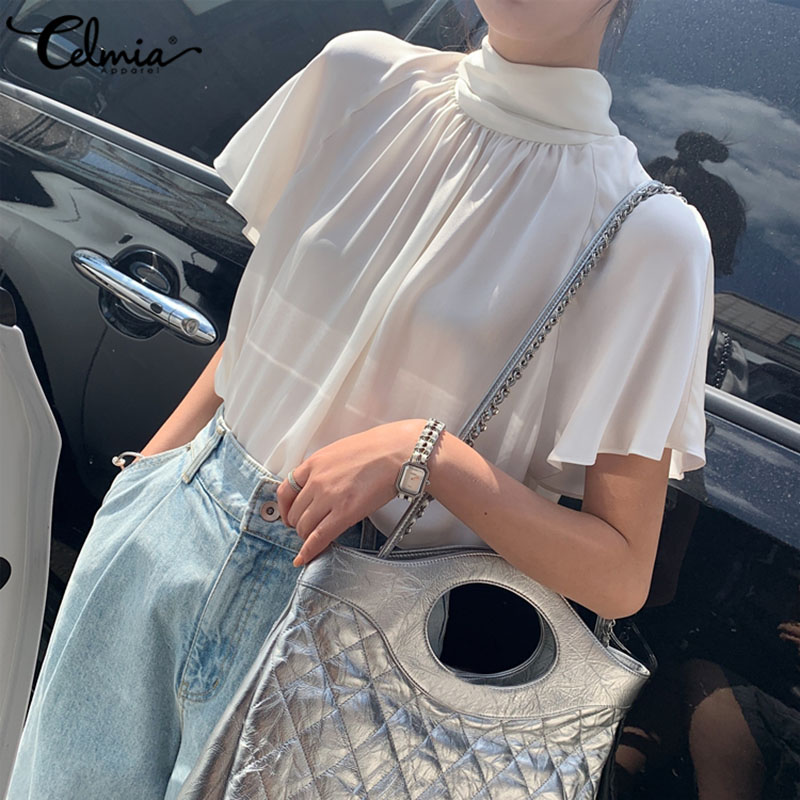Plus Size Summer Tops 2020 Celmia Women Sexy Back Bow Tie Stand Collar Chiffon Blouses Short Sleeve Shirts Casual Loose Blusas 7