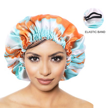 New Tie-dyed Reversible Satin Bonnet Hat Double Layer Adjustable Size Night Sleep Cap Beanie Used To Protect Curly Elastic Hair