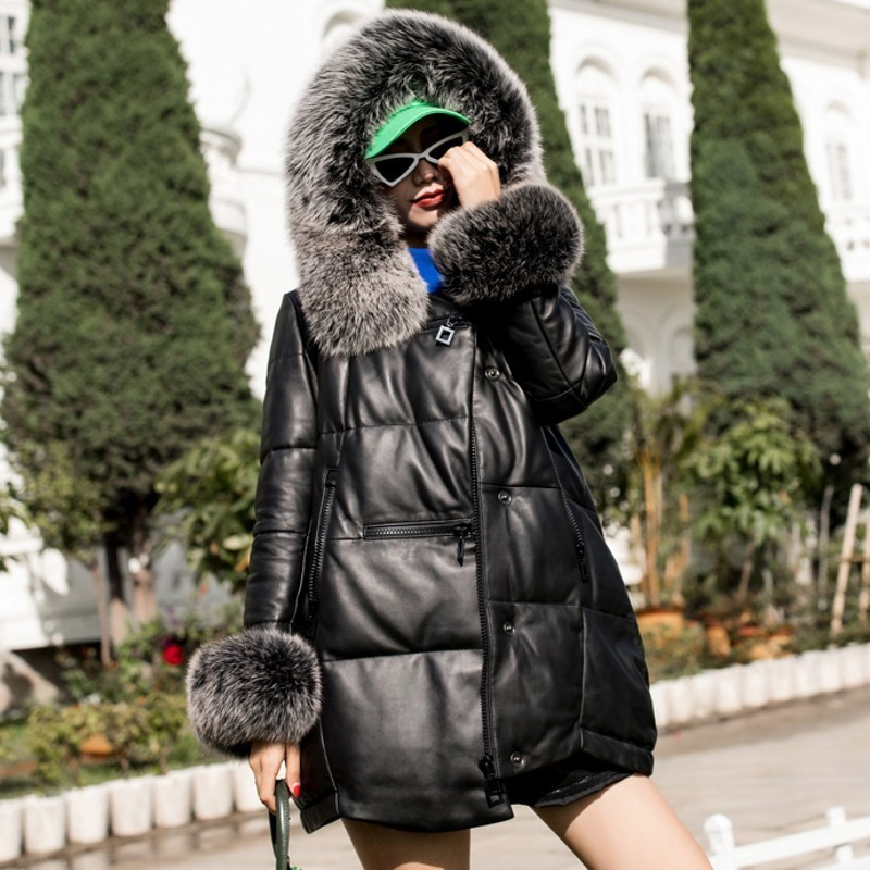 Top Quality Winter Women's Trousers Leather Short Coat Fox Leather Collar Sheepskin Hat Sheepskin Hot Coat Large