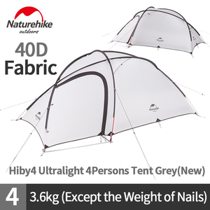 Image 4 - Naturehike Hiby Camping Tent 3 4 Persons Ultra light Outdoor Family Camping Double Layer Rainproof Travel Tent Hiking NH17K230 P